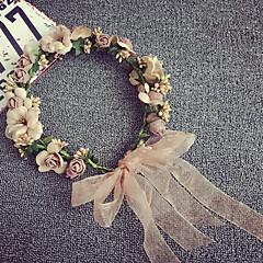 Satin Mousseline Casque-Mariage Extérieur Serre-tête Fleurs Couronnes 1 Pièce