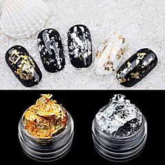 2stk folie nail art dekorasjon golden sølv folie