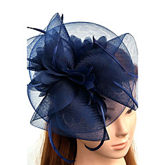 Penas Tule Rede Capacete-Casamento Ocasião Especial Fascinador Chapéus Véus de Rede 1 Peça