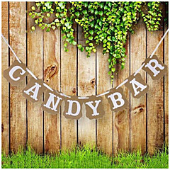 Candy Bar Kraft Paper Cardboard Bunting Banner Garland Vintage Wedding Decor Sign Baby Shower Birthday Party Buffet Photo Props Booth(Length 3m