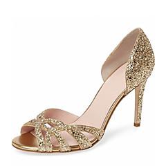 נשים-סנדלים-דמוי עור-שפיץ ושני חלקים נעלי מועדון-זהב כסף-חתונה שמלה מסיבה וערב-עקב סטילטו