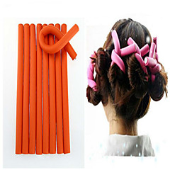 10 Pcs/Set Soft Hair Curler Roller Curl Hair Bendy Rollers Diy Magic Hair Curlers Tool 24*1.2Cm  Random Colors