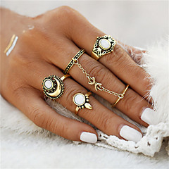5pcs/Set Bohemia Beach Flower Tibetan Moon And Sun Midi ring Sets for Women Knuckle Siamese Chain Mittens Rings Gift Jewelry Accessories