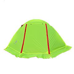 2人 ダブル 1つのルーム キャンプテント >3000mm ナイロン 防湿 通気性 抗紫外線 防雨 抗虫-ハイキング キャンピング 屋外-グリーン