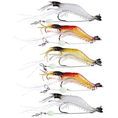 """5 ks Měkké návnady Rybářské háčky Balıkçılık Zokaları Jerkbaits Shrimp Měkké návnady Vícebarevný Průhledná g/Unce,90 mm/3-1/2"""" palec,"""