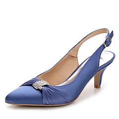 נשים-סנדלים-משי ניילון-רצועה אחורית נעלי מועדון-לבן ורוד בהיר כחול ים-חתונה משרד ועבודה שמלה יומיומי מסיבה וערב-עקב סטילטו