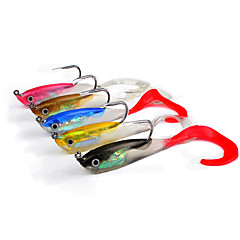 """5 pcs Soft Bait Jigs Others Fishing Lures Soft Bait Jigs Jig Head Shad Assorted Colors g/Ounce,100 mm/4"""" inch,Soft Plastic Lead Silicon"""