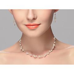 Femme Collier court /Ras-du-cou Perle Alliage euroaméricains Blanc Bijoux PourMariage Soirée Occasion spéciale Anniversaire Fiançailles