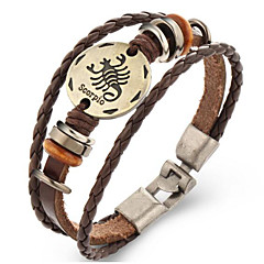 Unsex Vintage Scorpio Weave Leather Bracelet   Jewelry For Daily 1 pc