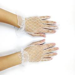 K zápěstí Bez špiček Síťované Rukavice Síť Tyl Pro nevěstu Party rukavičky Jaro Léto Podzim Volány