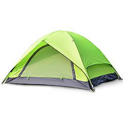 2 személy Sátor Dupla Összecsukható sátor Egy szoba kemping sátor Üvegszál Oxford Vízálló Hordozható-Túrázás Kemping-Zöld