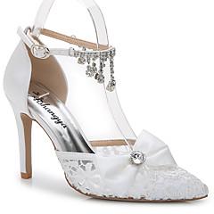 Sandaler-Silke Tilpassede materialer-D'Orsay og todelt-Damer-Hvid-Bryllup Udendørs Kontor Formelt Fritid Fest/aften-Stilethæl