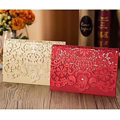 Top Fold Vjenčanje Pozivnice 50-Pozivnice Flora Style Kartonski papir Cvijet Trims