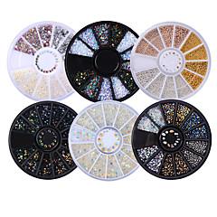 6 box sekamalleja kiiltävä kynsien strassit 3d kynsikoristeet koristeet pyörän tasainen pohja manikyyri DIY Nail Art tarvikkeet