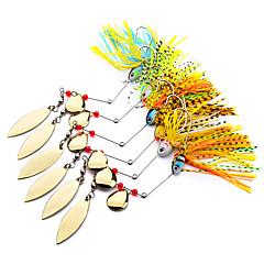 HiUmi Lot 6 pcs Mini Fishing Hard Spinner Lure Spinnerbait Pike Bass Metal Lure