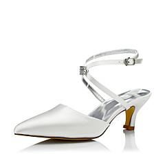 Feminino Sapatos De Casamento Conforto Sapatos Dyeable Seda Primavera Outono Social Festas & Noite Conforto Sapatos Dyeable CadarçoSalto