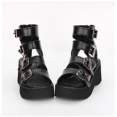 Lolita Shoes Classic/Traditional Lolita Punk Lolita Lolita Handmade Platform Solid Color Lolita 7 CM Black ForPU Leather/Polyurethane