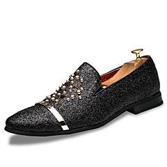 """גברים נעליים ללא שרוכים נעליים פורמלית PU קיץ סתיו חתונה יומיומי מסיבה וערב ניטים מפרק מפוצל שחור כסף ס""""מ 2.54 - ס""""מ 4.45"""