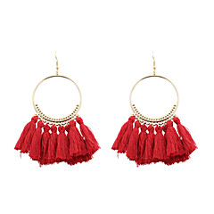Mulheres Brincos Compridos Jóias Euramerican bijuterias Moda Personalizado Poliéster/Algodão Liga Formato Circular Jóias Para Casamento