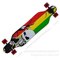 Kanadisches Ahornholz Erwachsene Longboards Skateboard Totenkopf Motiv 41 Zoll ABEC-9-Gelb Rot Grün Blau Orange/Schwarz