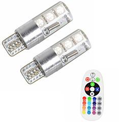 2ks t10 w5w 5050 smd rgb čtečka klíče světelná lampa 6 led 16 barvy led flash / strobe žárovka s dálkovým ovládáním dc12v