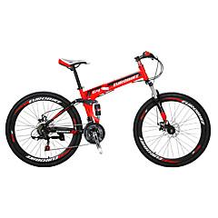 산악 자전거 Folding Bikes Pyöräily 21 Nopeus 26 tuumaa/700CC Shimono Tuplalevyjarru Etujousihaarukka Ilmajousitus Teräsrunko Taiteltava