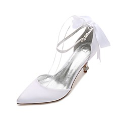 Women's Wedding Shoes Comfort D'Orsay & Two-Piece Basic Pump Spring Summer Satin Wedding Dress Party & Evening Rhinestone Bowknot