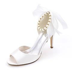 Damă pantofi de nunta Balerini Basic Primăvară Vară Satin Nuntă Party & Seară Imitație de Perle Toc Stiletto Fucsia Rosu Albastru Maro
