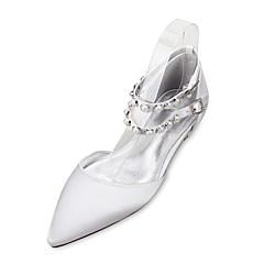 Dame bryllup sko Komfort Mary Jane D' Orsay og todelt Sateng Vår Sommer Bryllup Formell Fest/aften Perle Imitasjonsperle Flat hælLilla