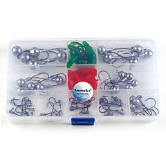 Anmuka 55Pcs/Box 1g Different weight Siliver Lead Jig Head Fishing Hook For Soft Fishing Carbon Steel Fishhooks