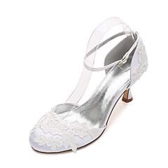 Dámské Svatební obuv Pohodlné Mary Jane D´Orsay Lodičky Satén Jaro Léto Svatební Šaty Party Saténové květiny KvětinyNízký podpatek Nízký