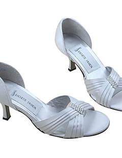 satin uppermedium hæl pip-tæer med rhinestone bryllup brude sko (mm002)
