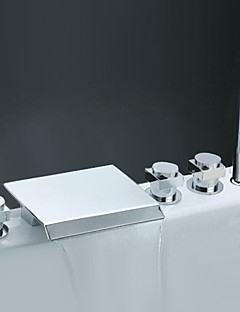 現代風 ローマンバスタブ 滝状吐水タイプ ワイドspary ハンドシャワーは含まれている with  セラミックバルブ 3つのハンドル5つの穴 for  クロム , 浴槽用水栓