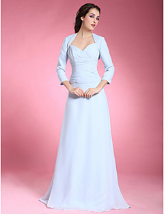 Lanting Bride® A-line Plus Size / Petite Mother of the Bride Dress - Wrap Included Floor-length 3/4 Length Sleeve Chiffon withCriss Cross