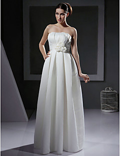 A-line/Princess Plus Sizes Wedding Dress - Ivory Floor-length Strapless Satin