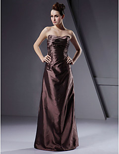 Floor-length Taffeta Bridesmaid Dress - Brown Plus Sizes A-line/Princess/Sheath/Column Strapless