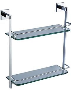 accessori per il bagno in ottone massiccio ripiano in vetro doppio (0640-3216)