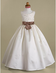 Lanting Bride ® A-line / Ball Gown / Princess Floor-length Flower Girl Dress - Satin Sleeveless Scoop with Appliques