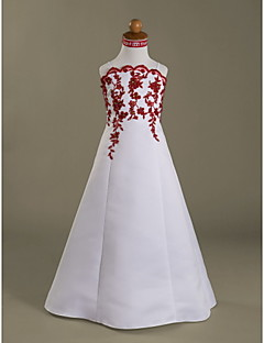 LAN TING BRIDE A-line Princess Floor-length Flower Girl Dress - Satin Spaghetti Straps Scalloped with Beading Appliques