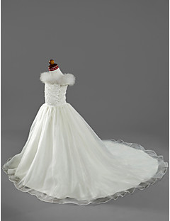 LAN TING BRIDE A-line Princess Court Train Flower Girl Dress - Organza Satin Off-the-shoulder withBeading Appliques Feathers / Fur