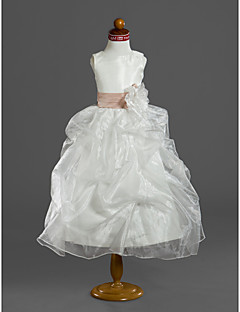 ボールガウン茶葉フラワーガールドレス - サテン袖なしスクープネックby lan tingbride®