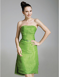 ショートドレス スレンダーライン オーガンザ/弾性サテン