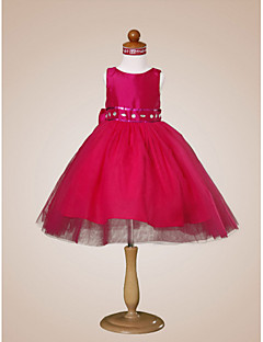 Ball Gown Knee-length Flower Girl Dress - Tulle/Taffeta Sleeveless