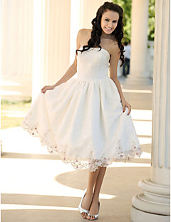 A-line/Princess Plus Sizes Wedding Dress - Ivory Knee-length Strapless Lace