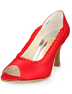 Women's Shoes Satin / Stretch Satin Spring / Summer / Fall Peep Toe Wedding Stiletto Heel Stitching LaceBlack / Pink / Red / Ivory /