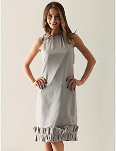 신부 들러리 드레스 - 실버 시스/컬럼 무릎길이 바토 쉬폰 플러스 사이즈