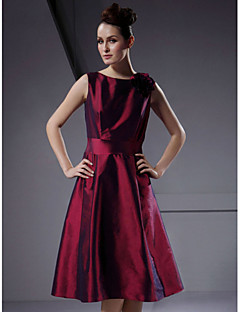 Lanting Knee-length Taffeta Bridesmaid Dress - Burgundy Plus Sizes / Petite A-line / Princess Bateau