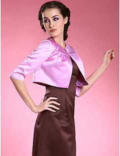 Wedding  Wraps Coats/Jackets Half-Sleeve Satin Lilac Wedding / Party/Evening Ruched Open Front
