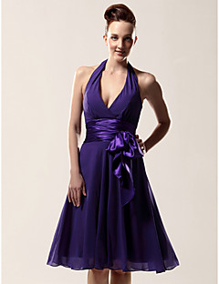Lanting Bride® Knee-length Chiffon Bridesmaid Dress - A-line Halter / V-neck Plus Size / Petite with Bow(s) / Sash / Ribbon
