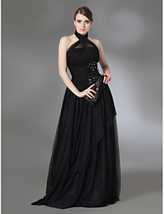 TS Couture® Prom / Military Ball / Formal Evening Dress - Black Plus Sizes / Petite A-line / Princess Halter / High Neck Floor-lengthStretch Satin /